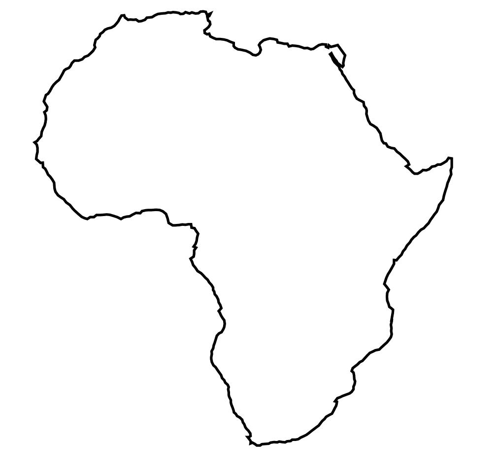 Continent clipart printable  Outline Map Of The