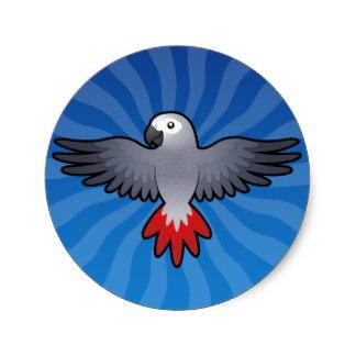 African Grey Parrot clipart / Cartoon Grey Sticker Parrot