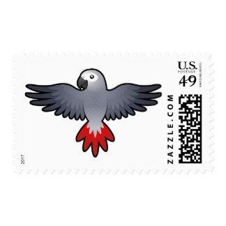 African Grey Parrot clipart / Cartoon Grey Grey Parrot