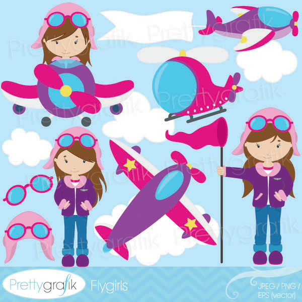 Aircraft clipart female pilot Cliparts clipart Girl airplane waving