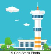 Airfield clipart control tower Vector Clipart with with Airport