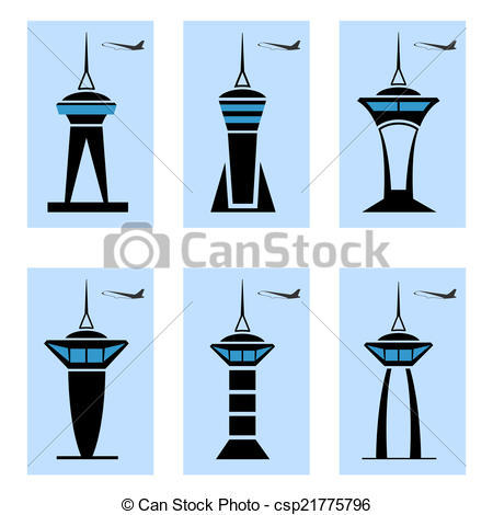 Airfield clipart control tower EPS10 Art Vector icons 169