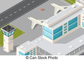 Airport clipart Airport Vector Isometric city of