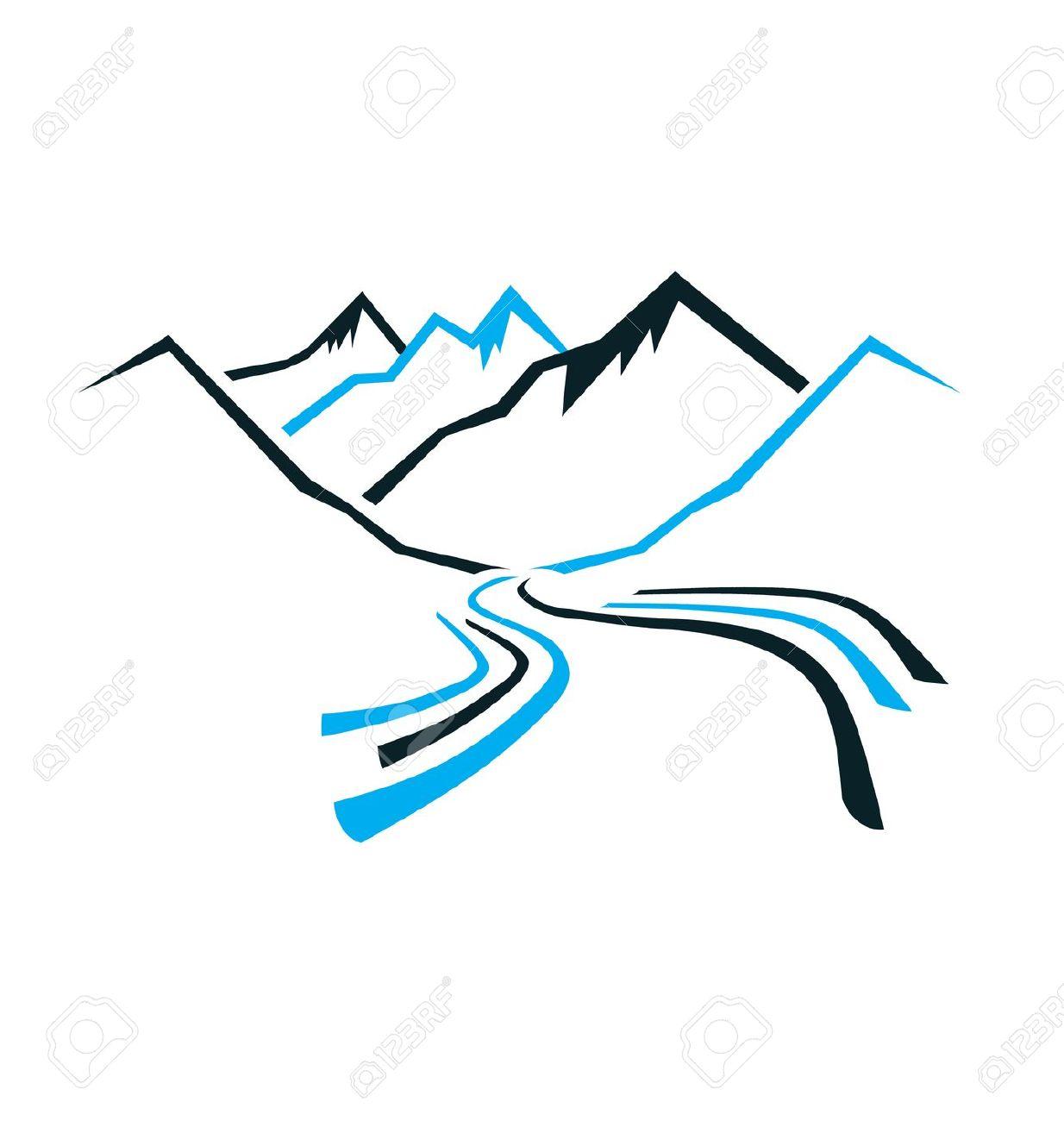 River clipart mountain logo #4