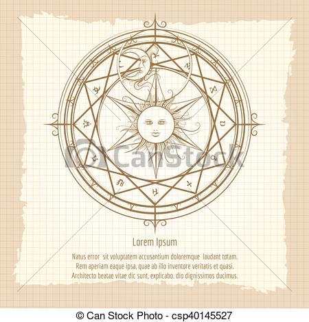 Alchemy clipart circle Alchemy magic Vintage Vector Vintage