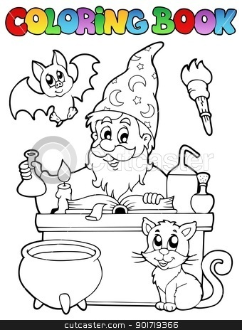 Alchemy clipart coloring book Coloring vector stock alchemist 1