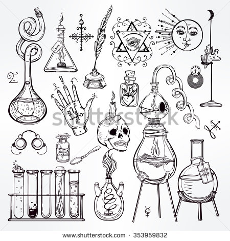 Alchemy clipart coloring book Set trendy collection of illustration