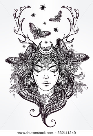 Alchemy clipart coloring book Hand beautiful female drawn occultism