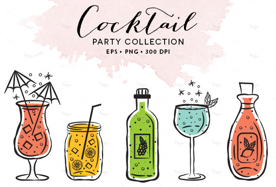 Party clipart wine glass // Etsy Digital Illustration Wine