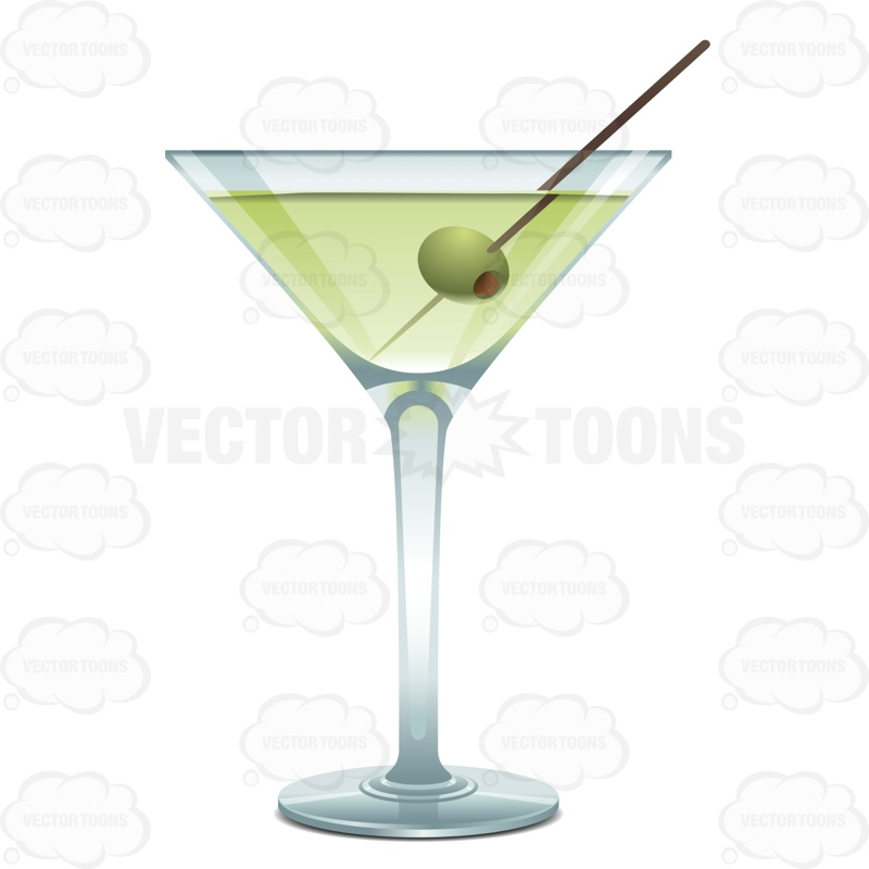 Alcohol clipart martini glass With Liquid One One Glass
