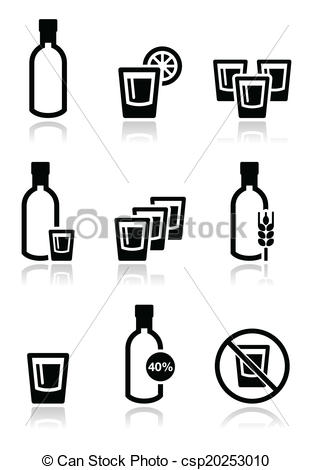 Vodka clipart alcohol Strong set Vector strong