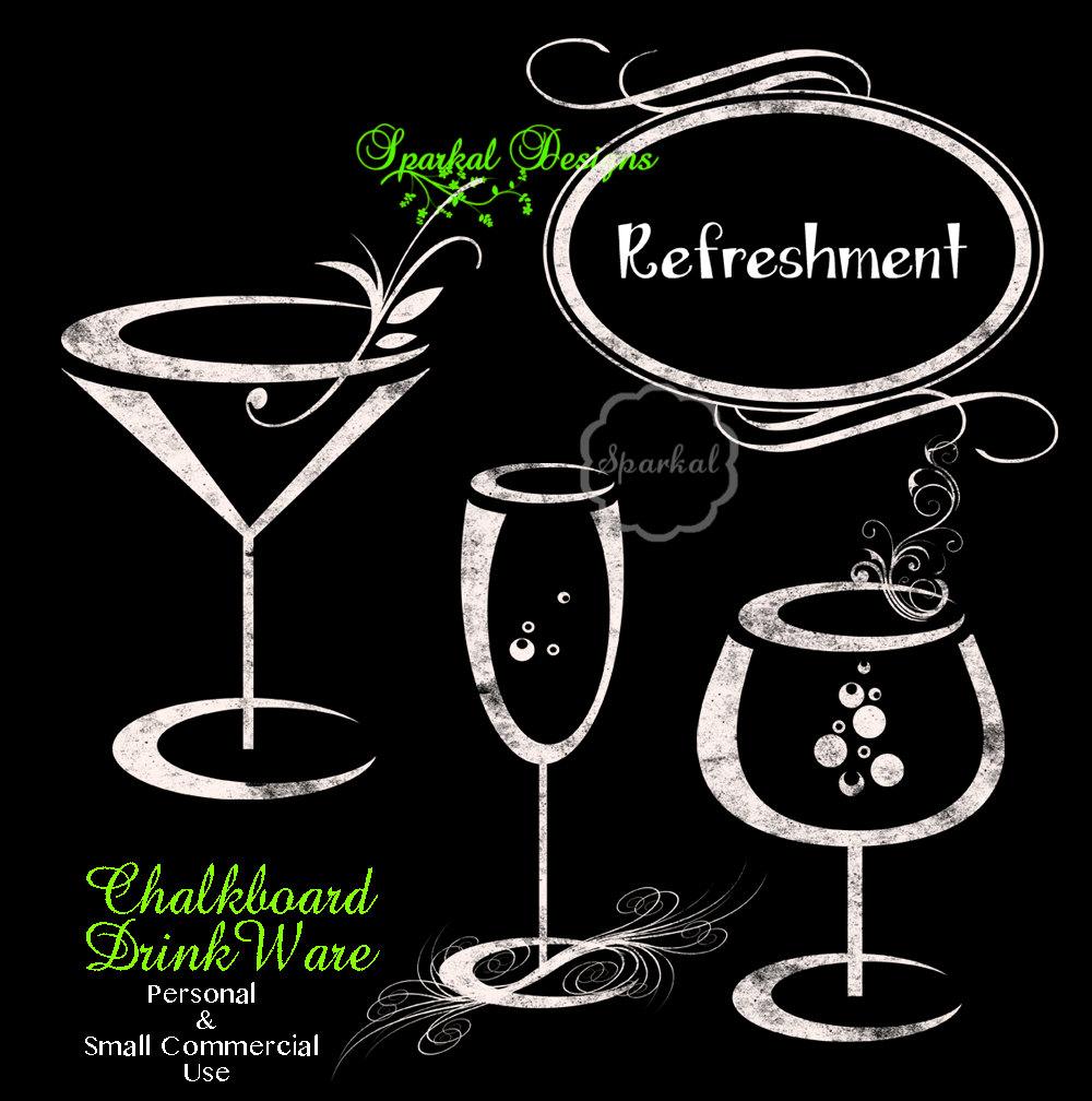 Champagne clipart cork Wine clipart Rustic Chalkboard Clipart