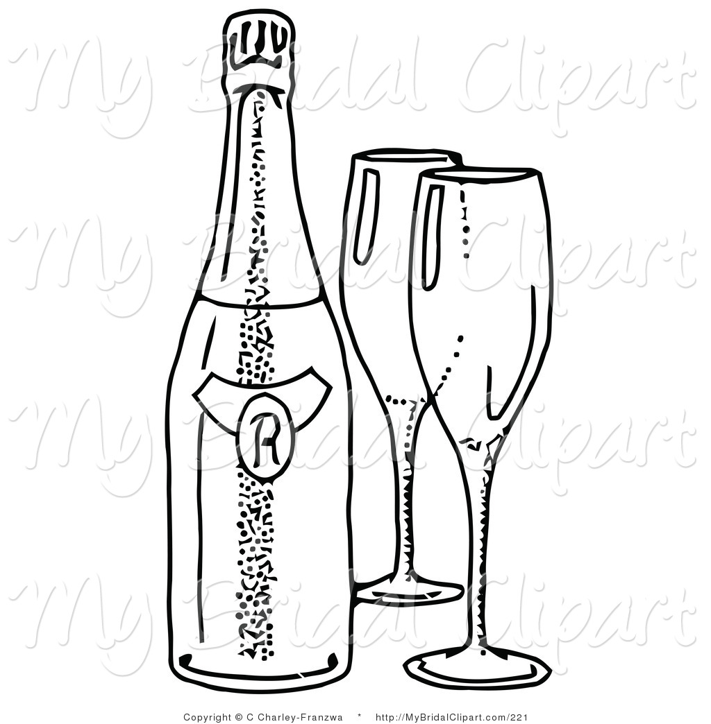 Wine clipart line Wine a Two Bottle a