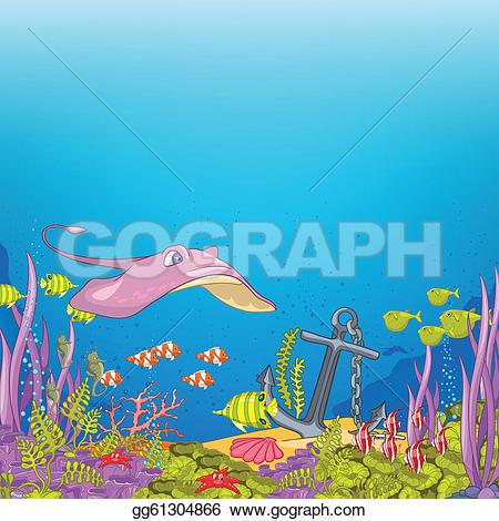 Algae clipart ocean bottom · Ocean Alga Underwater Cartoon