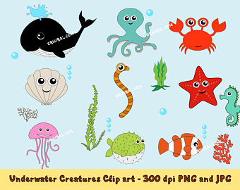 Crustacean clipart sea star Art creature Set Cancer Creatures