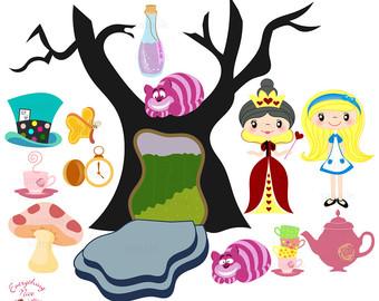 Alice In Wonderland clipart Etsy in Alice wonderland Art