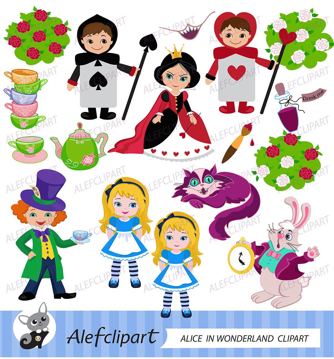 Alice In Wonderland clipart vector Digital Alice Alice Clipart