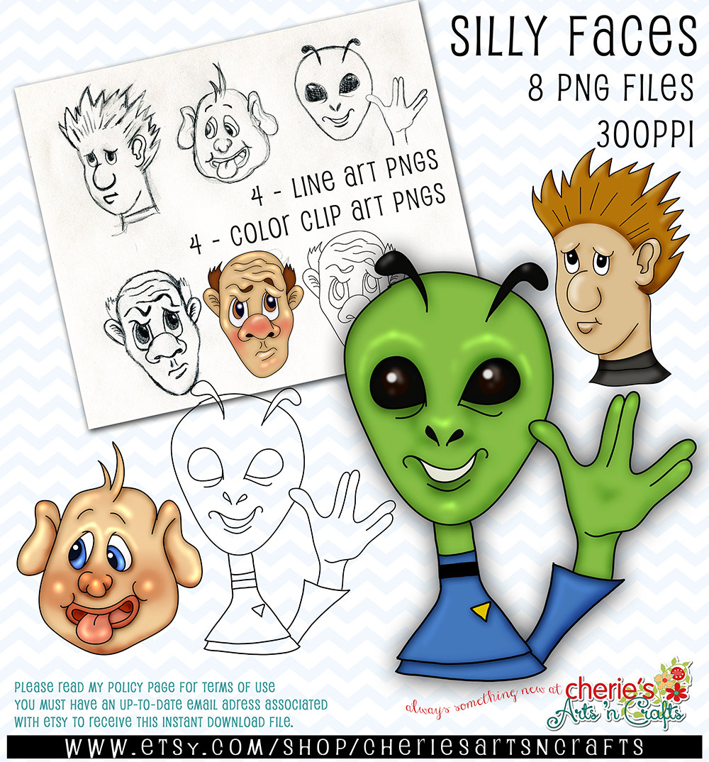 Alien clipart must  Art Silly Faces Characters