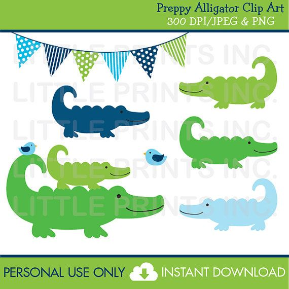 Caiman clipart wild animal 00 on LittlePrintsParties Alligator Preppy