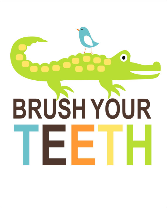 Alligator clipart brushing tooth Childrens Childrens Kids Alligator Typography