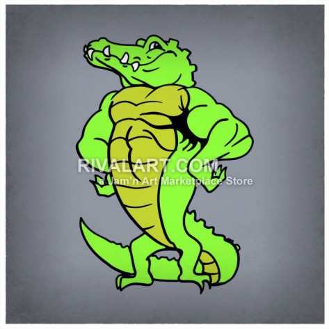 Alligator clipart muscular Standing On Muscular  Hind