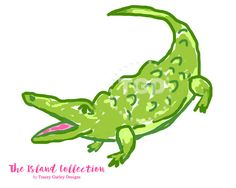 Alligator clipart preppy Green art pink Birthday and