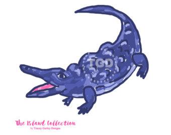 Alligator clipart purple Art clip invitation Original art