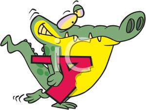 Alligator clipart sick Holding Holding Red Letter Red