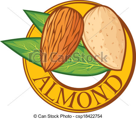 Almond clipart vector Vector label with symbol almond