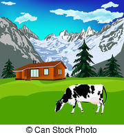 Alps clipart chalet Art Alps Alps  green