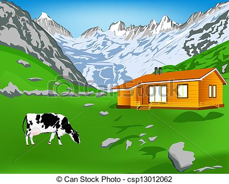 Alps clipart cow house Cliparts Mountains Alps Clipart