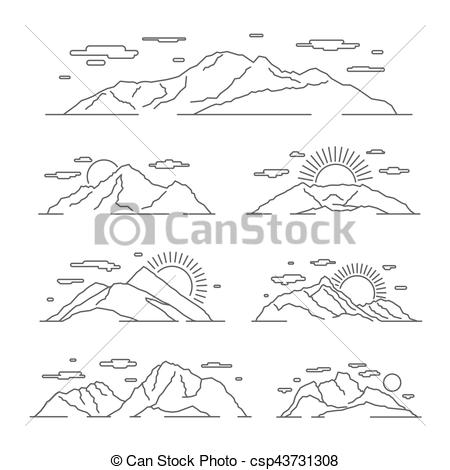 Alps clipart Vector Linear mountain mountains illustration