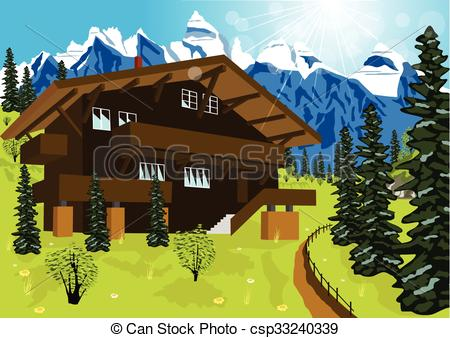 Alps clipart chalet In Vectors wooden  landscape