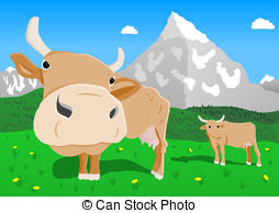 Alps clipart cow house Alps traditional the Vector the