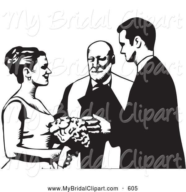 Altar clipart black and white Wedding at White Couple Wedding