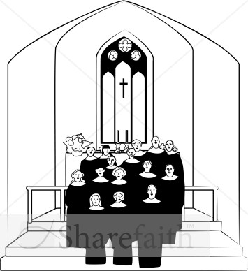 Altar clipart black and white Clipart White Church and Black