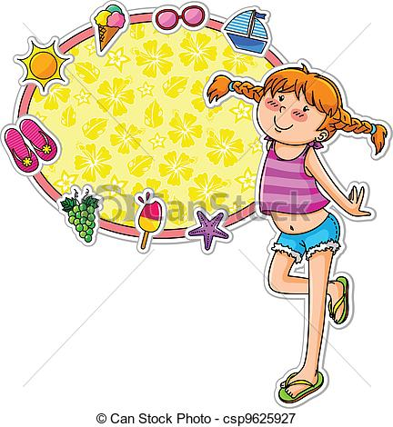 Amd clipart Summer  icons of girl