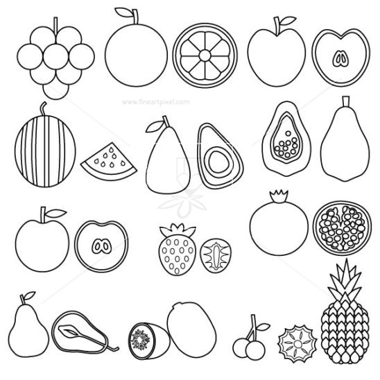 Amd clipart fruit – line Art of Illustrations
