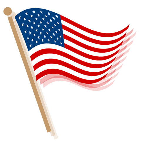 American Flag clipart stars and stripes  black waving athletic flag