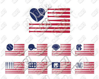 American Flag clipart staes Cut die jpeg Baseball Etsy