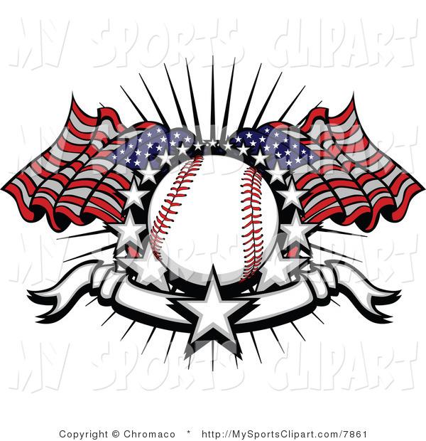 Baseball clipart american flag #2