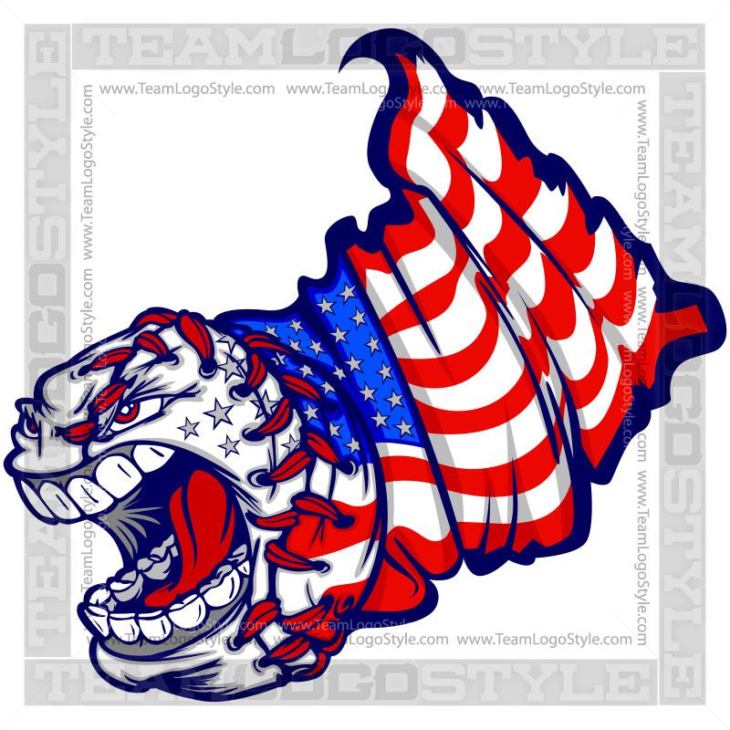 Baseball clipart american flag #5