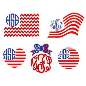 American Flag clipart staes Frame Monogram in American waving