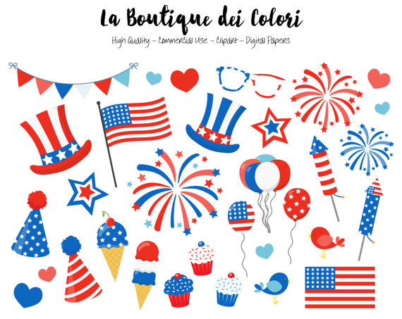 American Flag clipart cute Illustrations LaBoutiqueDeiColori PNG Commercial Clip