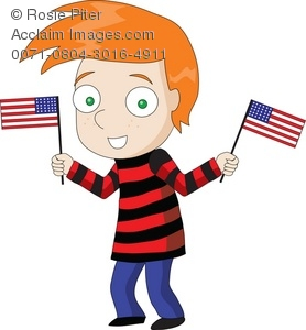 American Flag clipart little Haired American Boy Two Holding