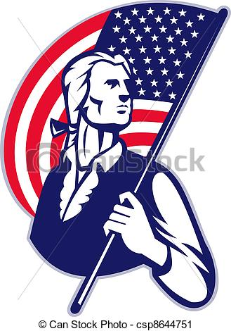 American Flag clipart patriot soldier With Flag With Flag American