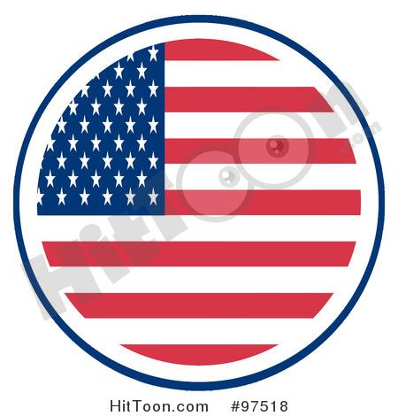 American Flag clipart round Fourth (RF) Flag American