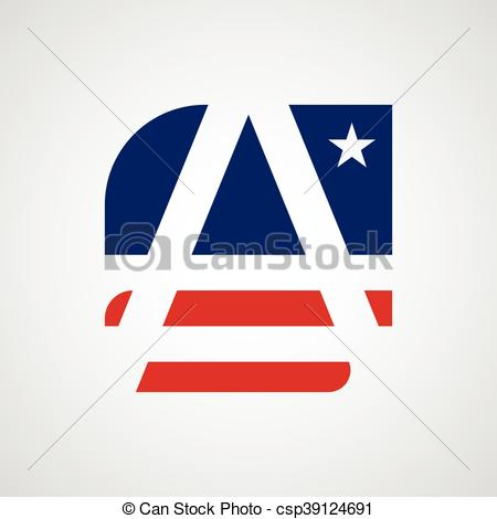 American Flag clipart stylized A csp39124691 as  vector