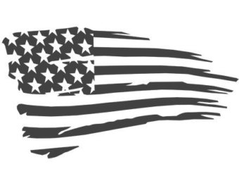 American Flag clipart weathered Blue Die Weathered 2 Line