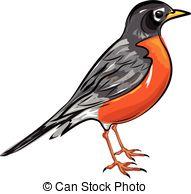 American Robin clipart Lineartestpilot1/2;  American Art illustration